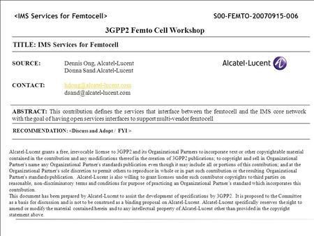 3GPP2 Femto Cell Workshop