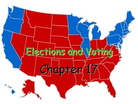 Elections and Voting Chapter 17. I. Election Campaigns National elections are held every two years All members of the House of Representatives are elected.