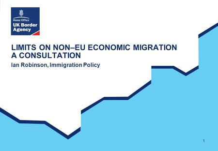 1 LIMITS ON NON–EU ECONOMIC MIGRATION A CONSULTATION Ian Robinson, Immigration Policy.