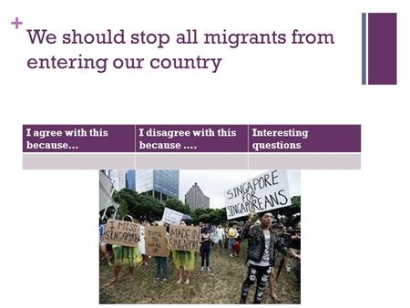 + We should stop all migrants from entering our country I agree with this because… I disagree with this because …. Interesting questions.