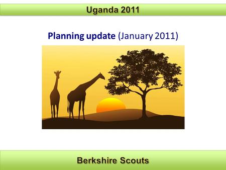 Planning update (January 2011). Planning and sub-groups: Project Africa Team.