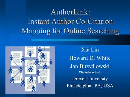 AuthorLink: Instant Author Co-Citation Mapping for Online Searching Xia Lin Howard D. White Jan Buzydlowski Drexel University Philadelphia,
