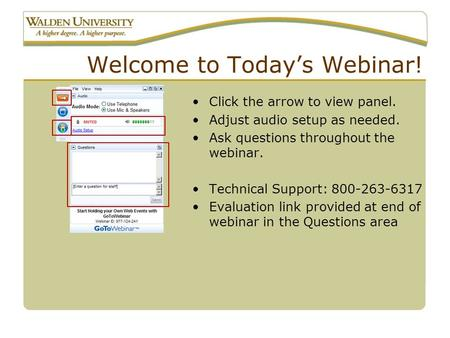 Welcome to Today's Webinar! Click the arrow to view panel. Adjust audio setup as needed. Ask questions throughout the webinar. Technical Support: 800-263-6317.