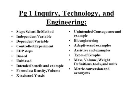 Pg 1 Inquiry, Technology, and Engineering: