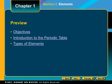 Preview Objectives Introduction to the Periodic Table Types of Elements Chapter 1 Section 3 Elements.
