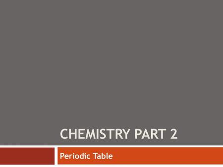 CHEMISTRY PART 2 Periodic Table. Chemistry – Recall  Chemistry is the study of matter and the changes it undergoes  Physical Properties: cause a physical.