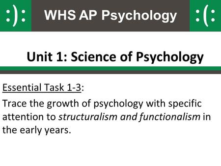 WHS AP Psychology Unit 1: Science of Psychology Essential Task 1-3: Trace the growth of psychology with specific attention to structuralism and functionalism.