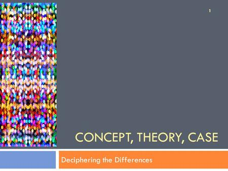 CONCEPT, THEORY, CASE Deciphering the Differences 1.
