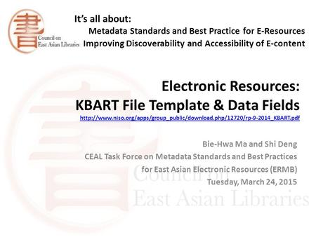 Electronic Resources: KBART File Template & Data Fields