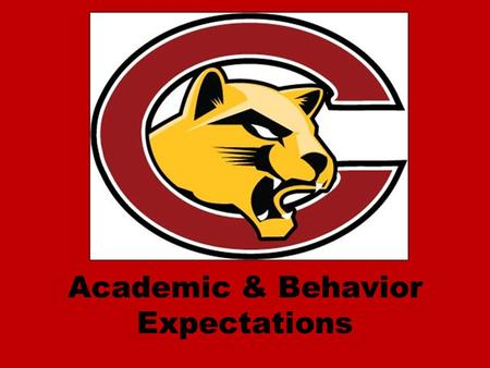 Academic & Behavior Expectations. Academic Expectations ALL students are expected do their best. ALL students will be provided with support to help them.