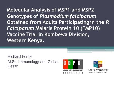 Molecular Analysis of MSP1 and MSP2 Genotypes of Plasmodium falciparum Obtained from Adults Participating in the P. Falciparum Malaria Protein 10 (FMP10)
