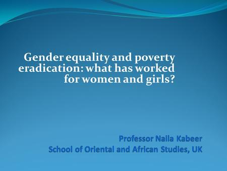 Gender equality and poverty eradication: what has worked for women and girls?