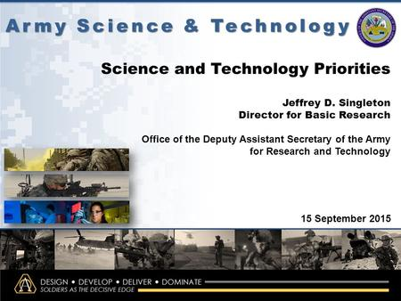 Singleton_ITA_Workshop_20150915 Army Science & Technology 15 September 2015 Science and Technology Priorities Jeffrey D. Singleton Director for Basic Research.