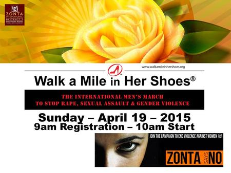 Sunday – April 19 – 2015 9am Registration – 10am Start.