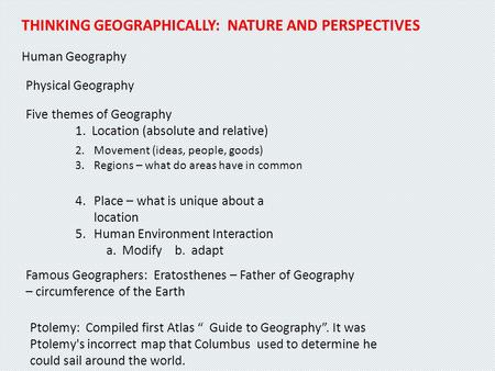 ap human geography nature and perspectives Ap human geography home ap human  welcome to human geography after completing this course you will certainly have a large base of geographic knowledge.