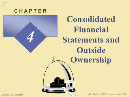 ฉ The McGraw-Hill Companies, Inc., 1998 Slide 4-1 Irwin/McGraw-Hill 4 C H A P T E R Consolidated Financial Statements and Outside Ownership.