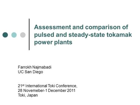 Assessment and comparison of pulsed and steady-state tokamak <strong>power</strong> <strong>plants</strong> Farrokh Najmabadi UC San Diego 21 st International Toki Conference, 28 Novemeber-1.