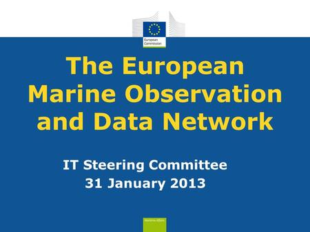 The European Marine Observation and Data Network IT Steering Committee 31 January 2013.
