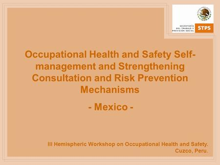 III Hemispheric Workshop on Occupational Health and Safety. Cuzco, Peru. Occupational Health and Safety Self- management and Strengthening Consultation.
