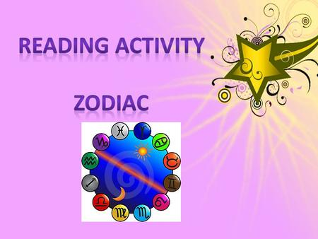 READING ACTIVITY ZODIAC.