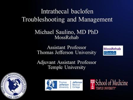 Intrathecal baclofen Troubleshooting and Management