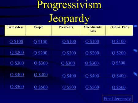 Progressivism Jeopardy Q $100 Q $200 Q $300 Q $400 Q $500 Q $100 Q $200 Q $300 Q $400 Q $500 Final Jeopardy.