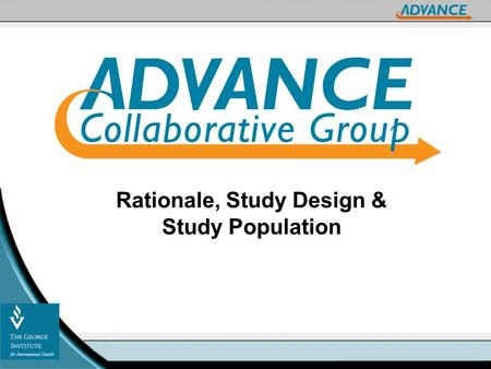 Rationale, Study Design & Study Population. Rationale.