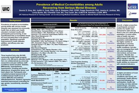 Prevalence of Medical Co-morbidities among Adults Recovering from Serious Mental Illnesses Dennis D. Grey, BA, Judith A. Cook, PhD, Lisa A. Razzano, PhD,