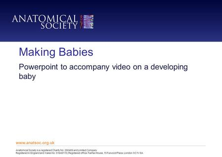 Making Babies Powerpoint to accompany video on a developing baby www.anatsoc.org.uk Anatomical Society is a registered Charity No: 290469 and Limited Company.