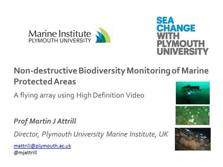 Non-destructive Biodiversity Monitoring of Marine Protected Areas A flying array using High Definition Video Prof Martin J Attrill Director, Plymouth University.