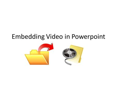 Embedding Video in Powerpoint. Embedding Video The most important thing to know about using video in PowerPoint (and the most common mistake) is that.