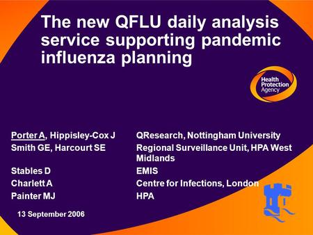 12 August 2003 The new QFLU daily analysis service supporting pandemic influenza planning Porter A, Hippisley-Cox J QResearch, Nottingham University Smith.