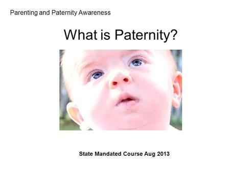 Parenting and Paternity Awareness Session 3 State Mandated Course Aug 2013 What is Paternity?