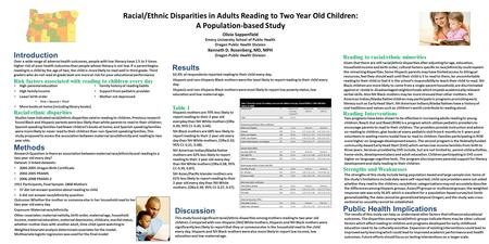 Racial/Ethnic Disparities in Adults Reading to Two Year Old Children: A Population-based Study Olivia Sappenfield Emory University School of Public Health.