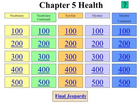 Chapter 5 Health 100 200 300 400 500 100 200 300 400 500 100 200 300 400 500 100 200 300 400 500 100 200 300 400 500 VocabularyVocabulary Continued Eye/EarMystery.