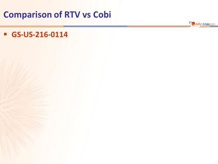 Comparison of RTV vs Cobi  GS-US-216-0114. Gallant JE. JID 2013;208:32-9 GS-US-216-0114  Design  Objective –Non inferiority of COBI compared with RTV.