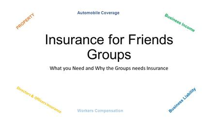 Insurance for Friends Groups What you Need and Why the Groups needs Insurance PROPERTY Business Income Directors & Officers insurance Business Liability.