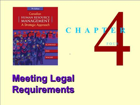 1 Copyright © 2005 by The McGraw-Hill Companies, Inc. All rights reserved.Schwind 7th Canadian Edition. 4 F O U R Meeting Legal Requirements C H A P T.