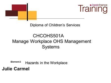 Element 2 Julie Carmel Diploma of Children's Services CHCOHS501A Manage Workplace OHS Management Systems Hazards in the Workplace.