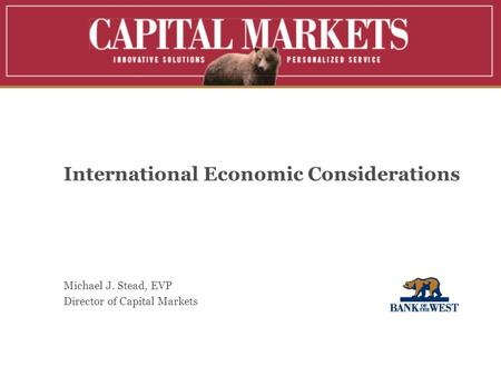 International Economic Considerations Michael J. Stead, EVP Director of Capital Markets.