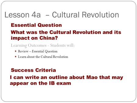 an analysis of the topic of the cultural revolution and maos china Works of mao zedong by date analysis of the classes in chinese society talk at a meeting of the central cultural revolution group (january 9.
