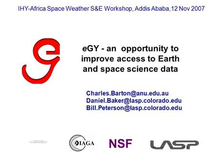 EGY - an opportunity to improve access to Earth and space science data