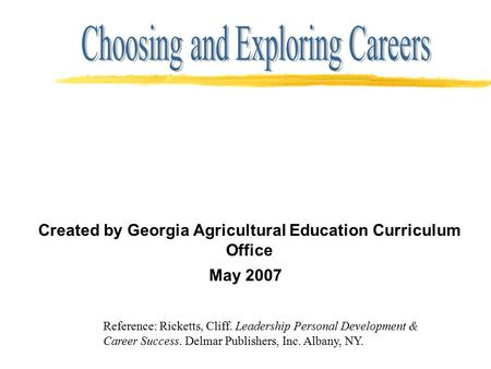 Created by Georgia Agricultural Education Curriculum Office May 2007 Reference: Ricketts, Cliff. Leadership Personal Development & Career Success. Delmar.