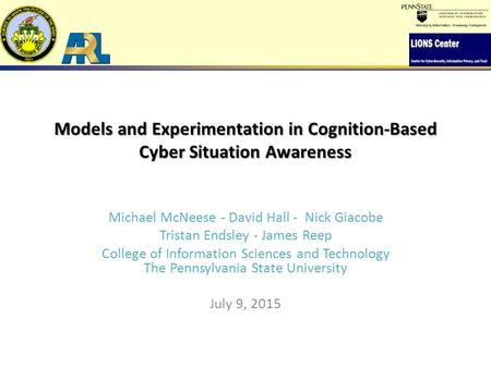 Models and Experimentation in Cognition-Based Cyber Situation Awareness Michael McNeese - David Hall - Nick Giacobe Tristan Endsley - James Reep College.