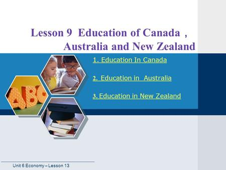 Lesson 9 Education of Canada, Australia and New Zealand