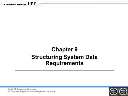 © 2006 ITT Educational Services Inc. SE350 System Analysis for Software Engineers: Unit 8 Slide 1 Chapter 9 Structuring System Data Requirements.