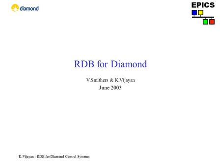K.Vijayan : RDB for Diamond Control Systems RDB for Diamond V.Smithers & K.Vijayan June 2003.