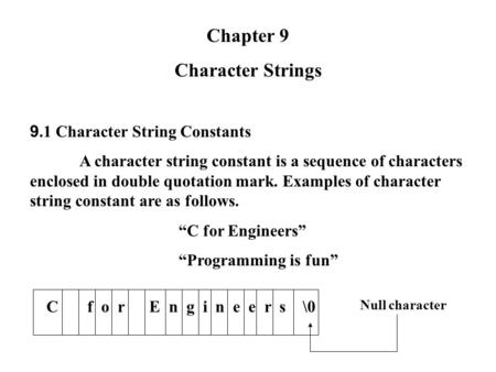 Chapter 9 Character Strings 9.1 Character String Constants A character string constant is a sequence of characters enclosed in double quotation mark. Examples.