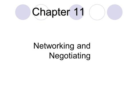 Networking and Negotiating