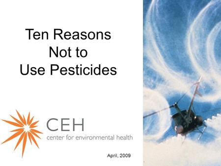 Ten Reasons Not to Use Pesticides April, 2009. 1.Pesticides don't solve pest problems.